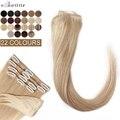 S-noilite человеческие волосы с зажимом, тонкое хвост 8 шт./компл. Заколки для волос блондинка парик из натуральных волос 10