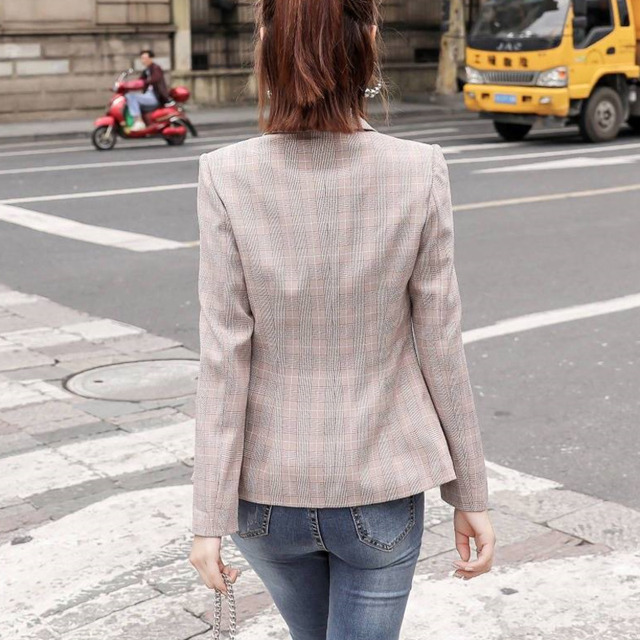 PEONFLY Vintage Single Button Office Ladies Plaid Blazer Casual Korean Style Long Sleeve Coat Jacket Women Blazers Female 4