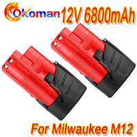 High capacity 12V 6800mAh LI-ION battery Rechargeable Power Tool Battery For Milwaukee M12 48-11-2401 48-11-2440 L50