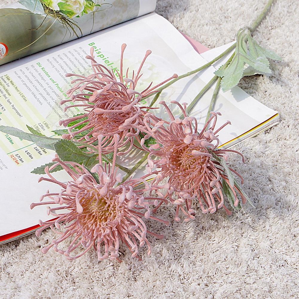 Single Branch 3 Fork Fog Planting Wind Wheel Pin Cushion Flower Artificial Flower Home Decoration Display Flower Wedding Decor