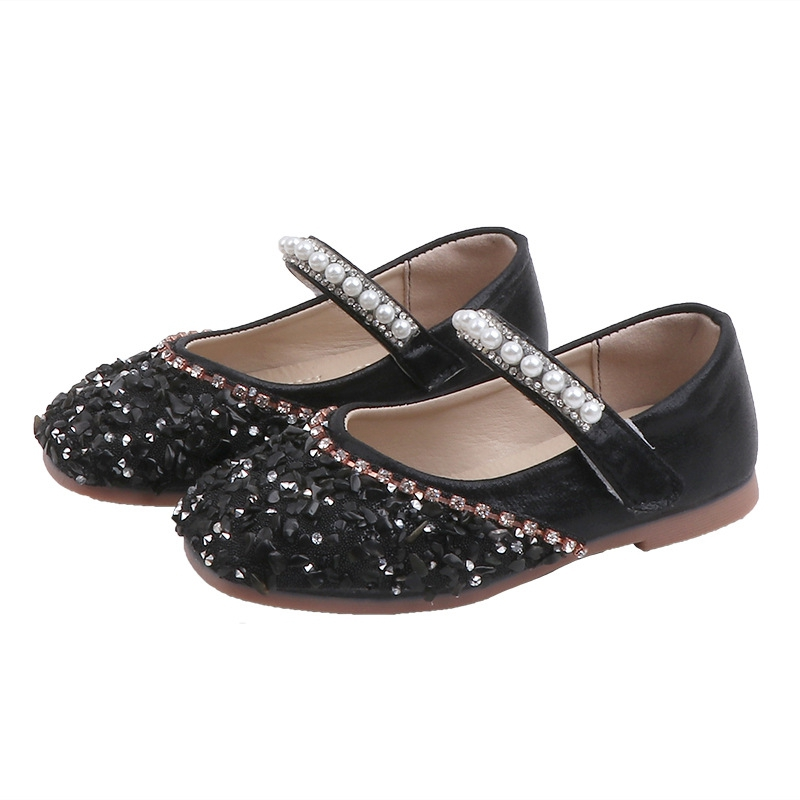 Autumn Kids Baby Girl Soft Pu Leather Sole Shoes Anti-slip Rhinestone Design Sandals Casual Walking Shoes