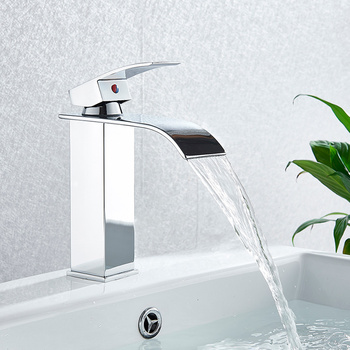 Bathroom Waterfall Basin Sink Faucet Black Faucets Brass Bath Faucet Hot&Cold Water Mixer Vanity Tap Deck Mounted Washbasin tap 7