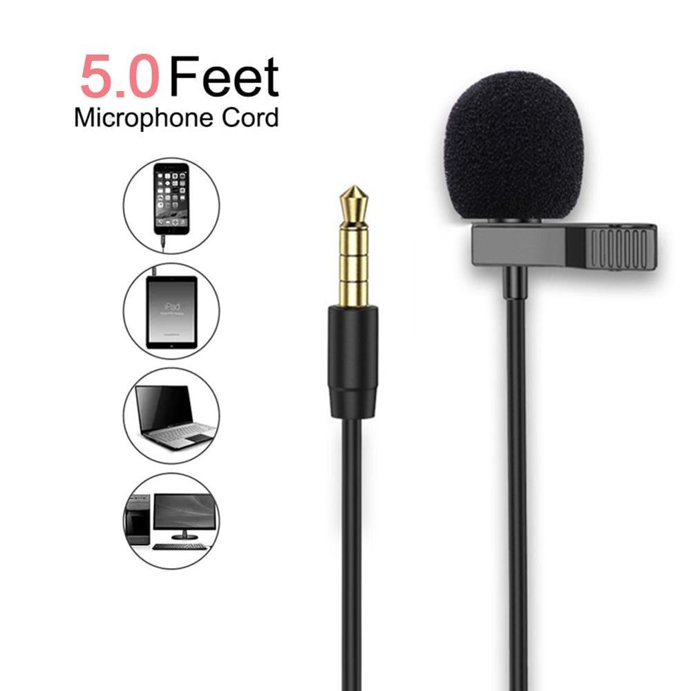 Grampo portátil do condensador do microfone de 1.5m/3m/6m 3.5mm mini-no microfone com fio do microfone da lapela tipo c para o telefone para o portátil