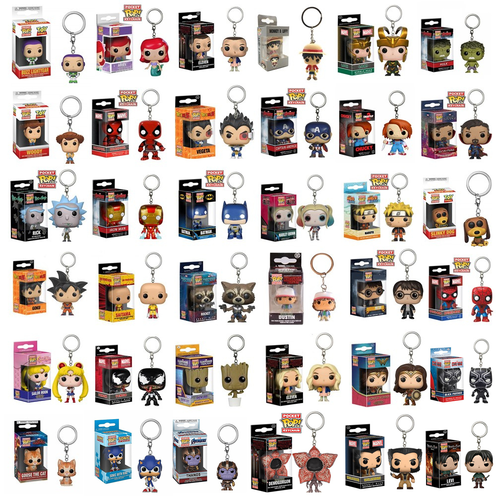 FUNKO POP Pocket Pop Keychain Super Heros Stranger Things Original Action Figures Collection Model Toys Children Christmas Gifts