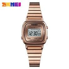 SKMEI Frauen Sport Uhr Digitale Damen Kleine Zifferblatt Edelstahl Armband Uhr Wasserdichte Uhren 12 Stunde Weibliche Relogio 1252