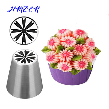 Russian Pastry Tulip Icing Piping Nozzles Stainless Steel Flower Cream Pastry Tips Nozzles Bag Cupcake Cake Decorating Tools vogvigo 2pcs 304 stainless steel pastry nozzles cake decorating tools dessert decorator nozzles flower confectionery nozzles