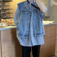 Повседневные короткие топы женские джинсовый жилет без рукавов женские жилеты Осенняя Верхняя одежда Топы Верхняя одежда Пальто Женская мода жилет