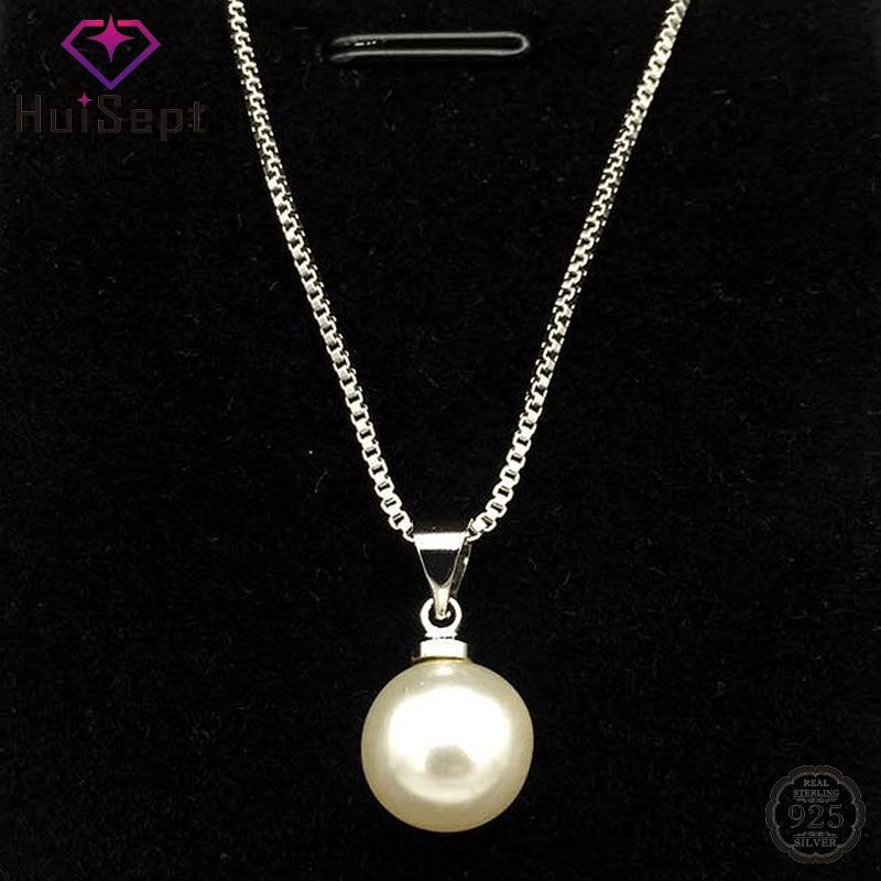 HuiSept à la mode argent 925 perle pendentif collier bijoux pour les femmes de mariage fiançailles fête cadeau ornement en gros livraison directe
