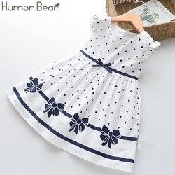 Humor urso meninas vestido de verão novo estilo vestido de princesa a céu aberto vestido bordado bonito colete vestido meninas roupas
