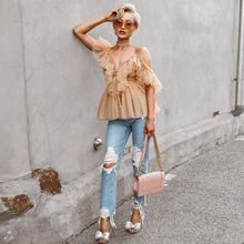 Fashion Pleated Ruffle Blouse Off Shoulder Womens Tops and Blouses Vintage Sleeveless Summer Shirt Lace up Blouse Backless lace trim button up ruffle blouse