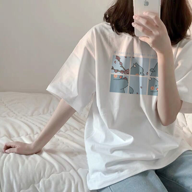 Women Round Collar Summer Cartoon 2019 New Half Loose Sleeve  Print Casual Simple Wild T-Shirt