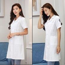 White gown short sleeve female doctor take nurse male white coat long pharmacy dental beauty salon overalls