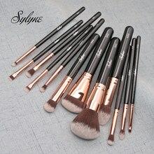 Sylyne makeup brushes 12pcs brush set professional synthetic Hair rose gold foundation contour make up brushes.