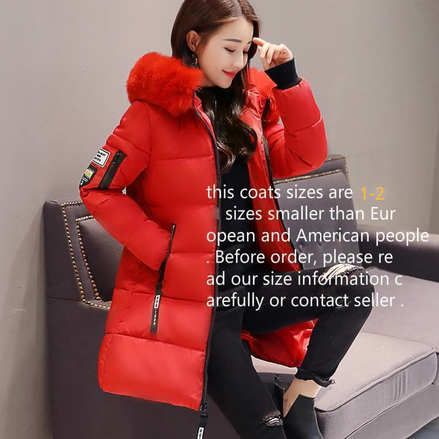 2019 New Parka Womens Winter Coats Womans Long Cotton Casual Fur Hooded Jackets Warm Parkas Female Overcoat Coat Free shipping 5