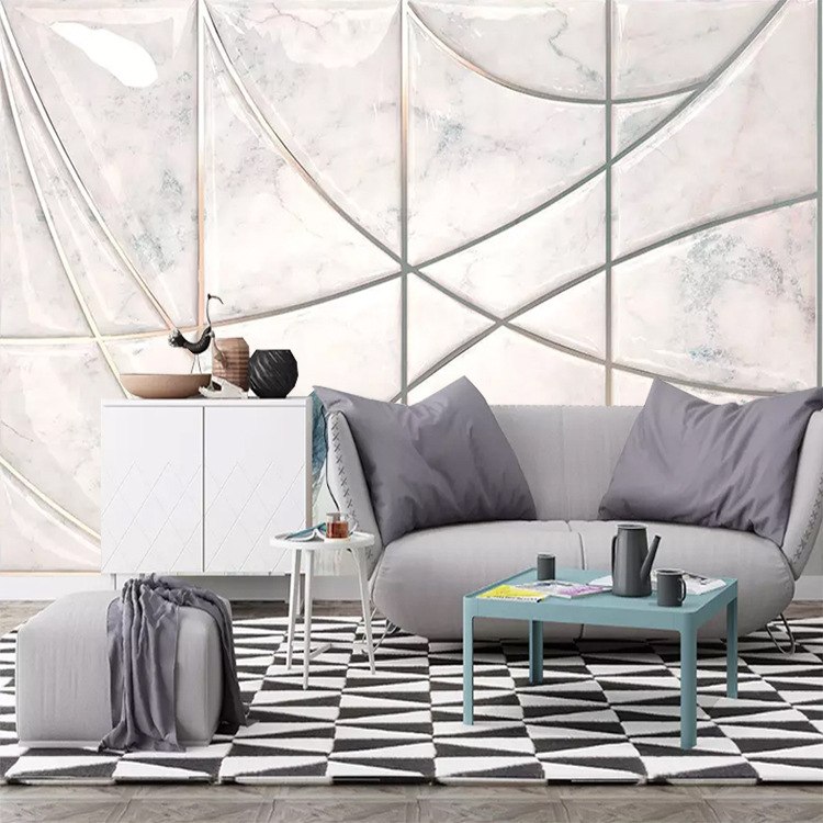 TV Backdrop Wallpaper Minimalist Modern Geometry Lines Plain Color Living Room Wallpaper Mural TV Wall Decoration Wall Cloth