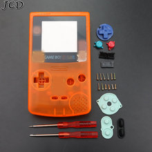 JCD Clear Orange Full Shell Housing Replacement for Gameboy Color GBC Cover Case with Conductive button, Screwdriver
