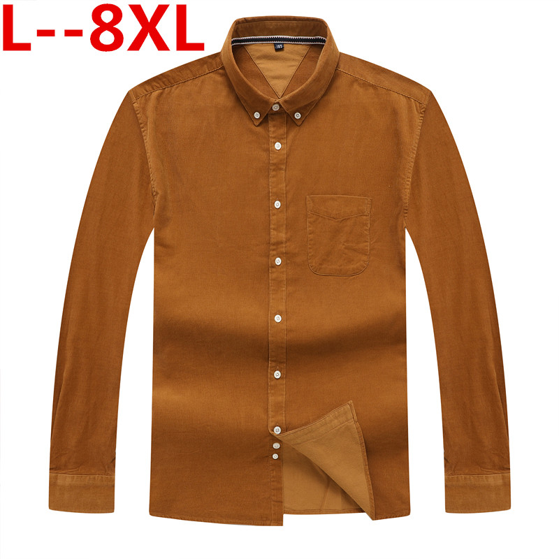 8XL 5XL 6xl Autumn/<font><b>winter</b></font> <font><b>Warm</b></font> Quality 100%cotton Corduroy long sleeved button collar smart casual <font><b>shirts</b></font> <font><b>for</b></font> <font><b>men</b></font> comfortable image