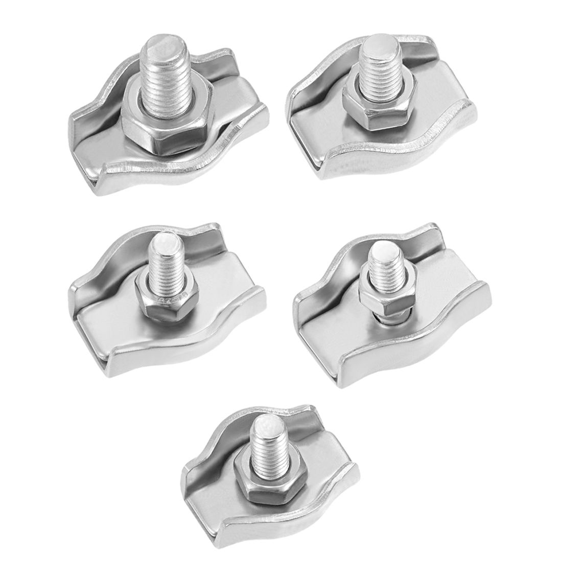 Uxcell 4-20pcs 304 Stainless Steel Single Wire Rope Clip Cable Clamp Suit For 1mm-1.5mm 1.5-2mm 2-3mm 3-4mm 4-5mm Rope