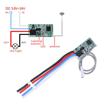 1PC 433 Mhz 1CH RF Relay Receiver Universal Wireless Remote Control Switch Micro Module LED Light Controller DC 3.6V-24V DIY image