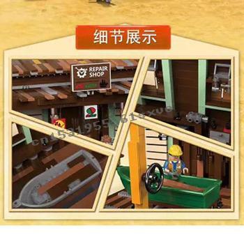 2020 new The Old Fishing Store Shipyard City Creator Street View MOC Model Building Blocks Lepinblocks bricks Kits Toy gift 2