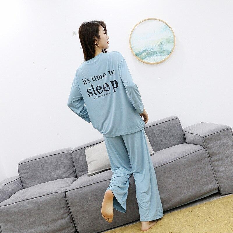 Pajamas suit modal long sleeve pajamas women spring autumn trousers large size winter cute elegant home service simple pijama