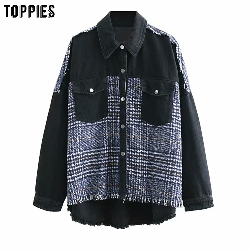 Women Black Plaid Jacket Streetwear Long Sleeves Causal Coat With Pockets