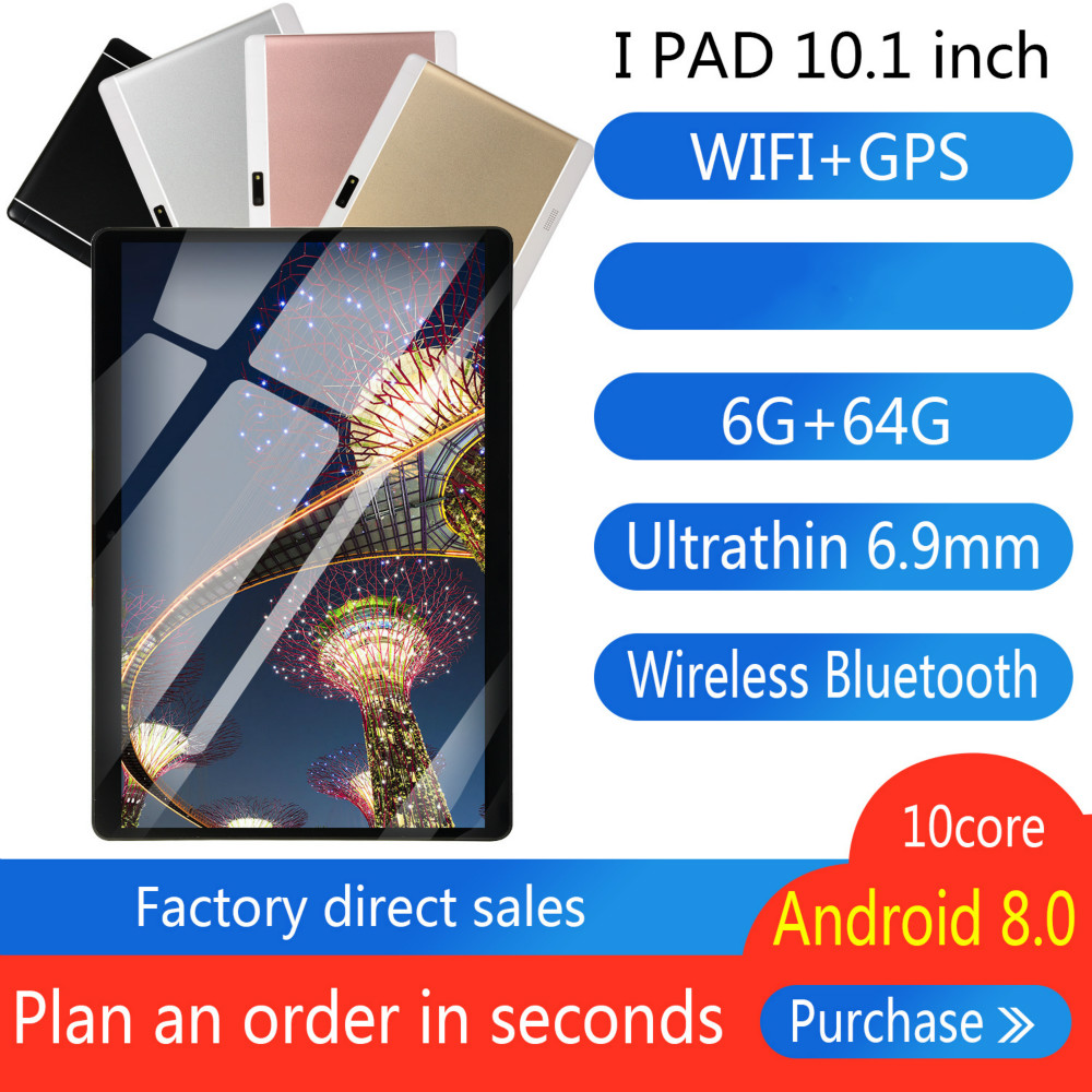 6G+64GB Android 8.0 WiFi Tablet PC Dual SIM Dual Camera Bluetooth MTK8752 4G WiFi Call Phone Tablet Gifts