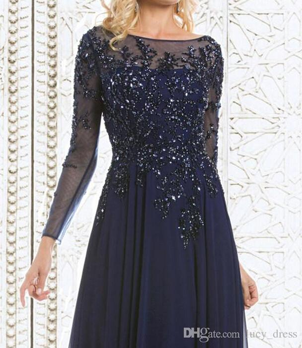 Chiffon See-Through Long Sleeve Sheer Neck Appliques Sequins Evening Top Selling Elegant Navy Blue Mother Of The Bride Dresses