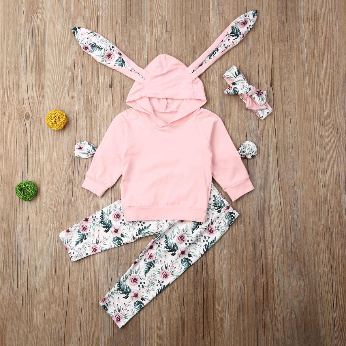 0-3T 3 uds niños pequeños bebé niña de manga larga pantalones superiores ropa trajes pantalones encantadores trajes de otoño ropa de conejo