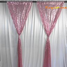 Royaltime 2pcs 2x8ft Pink Gold Sequin Backdrop Curtain Wedding Photobooth Photography Background Wedding Party Christmas Decor