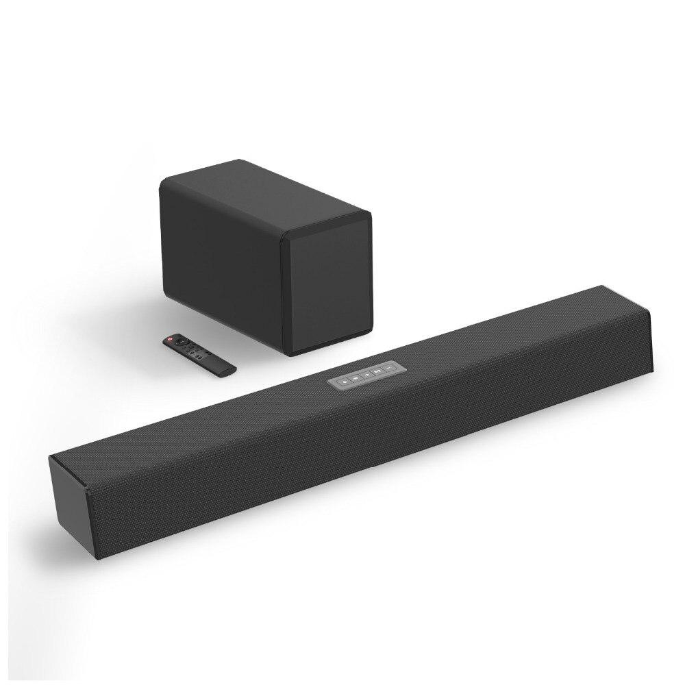 100W TV barre de son 2.1 Bluetooth haut-parleur 5.0 Home cinéma système 3D Surround> 80 dB barre de son télécommande avec Subwoofer pour TV