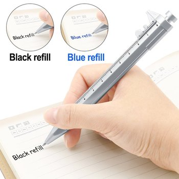 more than gel pen refill writes smoother ball pen refill capacity sufficient tip wear can be applied to most roller pen Multifunction Gel Ink Pen Vernier Caliper Roller Ball Pen Stationery Ball-Point Black/Blue refill 0.5mm Dropshipping