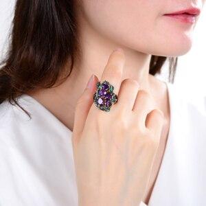 Image 2 - Gems Ballet 3.23Ct Natuurlijke Amethist Ringen 925 Sterling Zilveren Handgemaakte Hollow Element Ring Voor Vrouwen Bijoux Fijne Sieraden