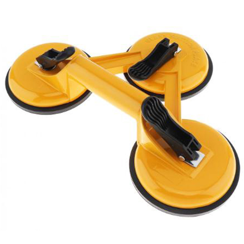 Aluminum Alloy Triple Claw Vacuum Sucker With Rubber Suction Pad And Abs Handles For Tiles Glass Lightweight Locking Glass Sucti