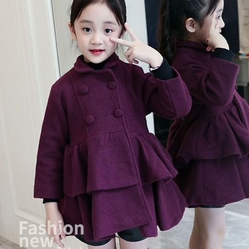Woolen Layered Big Girls Winter Dress Coat Thick Warm Ruffles Jackets Baby Girl Outwear Autumn Kids Tops Clothes Red Purple