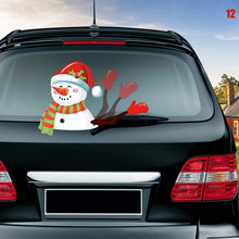 Car Rear Wiper Decal Sticker Windshield Christmas Santa Claus Waving Decor Ornament LB88