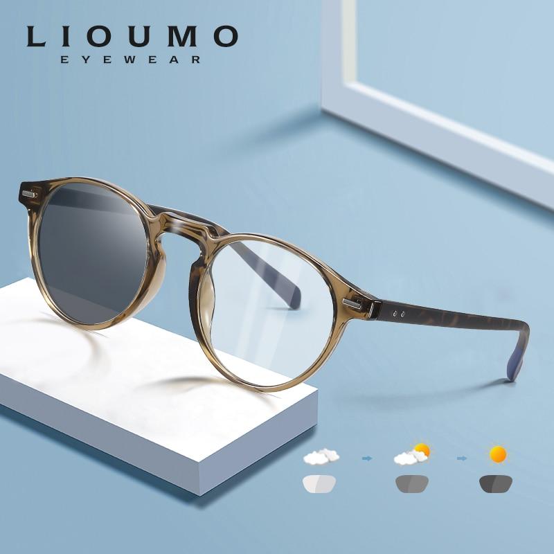 Gafas redondas LIOUMO para ordenador, gafas antibloqueo azul, gafas para hombres y mujeres, gafas fotocrómicas que cambian de Color