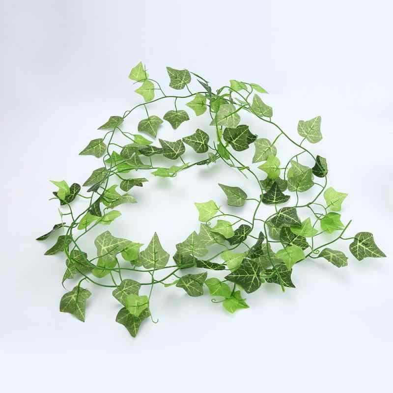 2.5M Dekorasi Rumah Buatan Ivy Daun Garland Tanaman Merambat Bunga Palsu Creeper Hijau Ivy Mahkota Daun Rumput Buatan