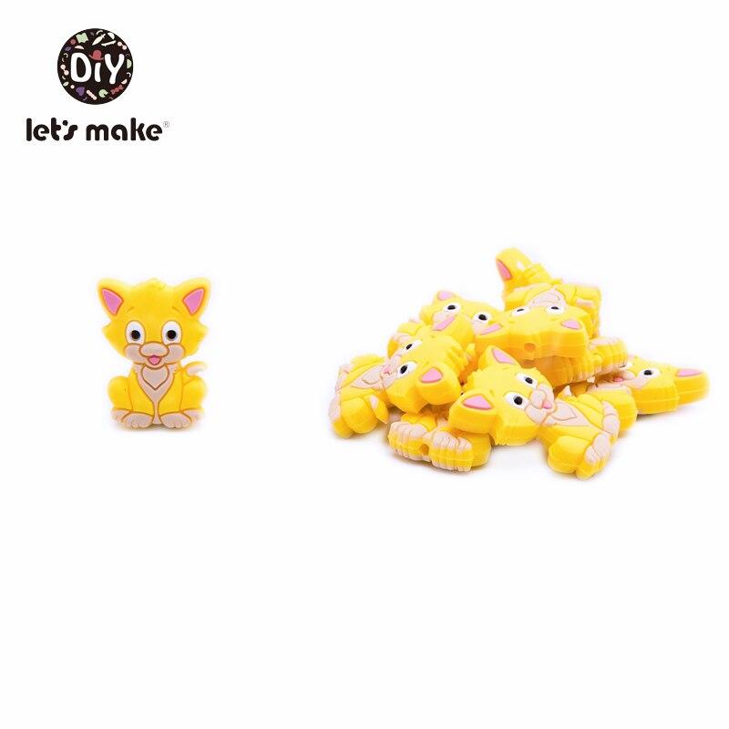 Купить с кэшбэком Let's Make Silicone Teether Baby Silicone Beads Cats Cartoon Shape 5pcs Nursing Teething Toys For Teeth Food Grade Baby Teethers