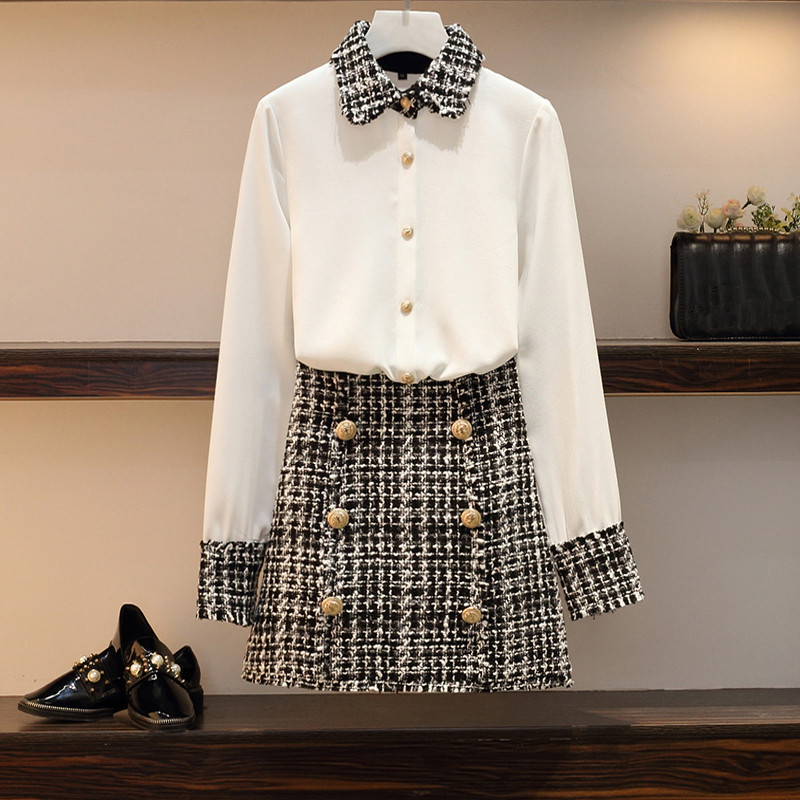 S-4XL Oversize Fashion Women 2 Piece Set Autumn White Chiffon Patchwork Tweed Tassel Shirt Tops + Button Woolen Pencil Skirt Set