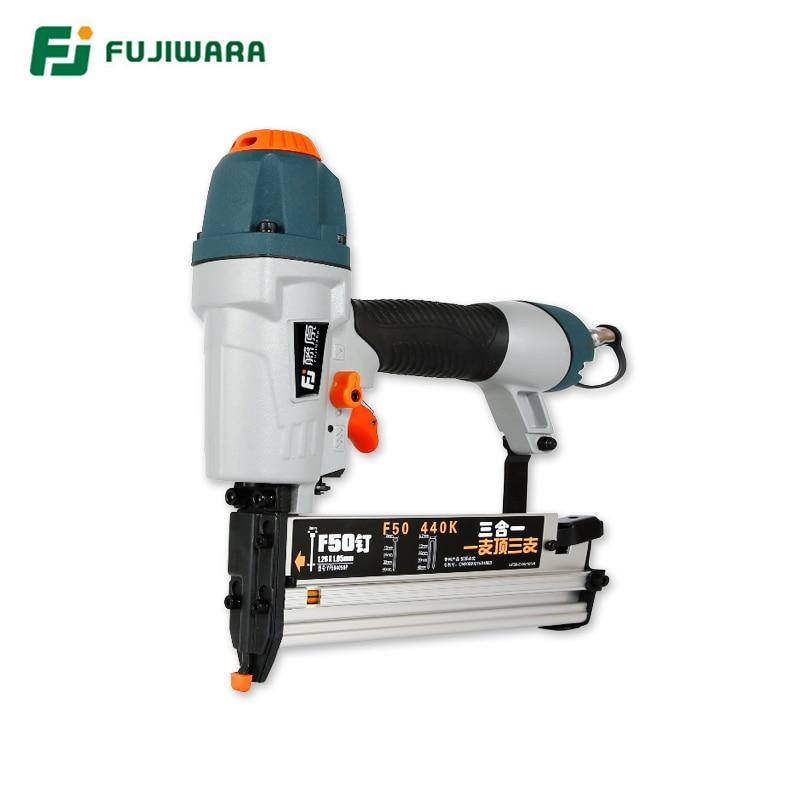 FUJIWARA  New 3-in-1 Pneumatic Nail Gun Woodworking Nailer Stapler Air Nailing Tool, F15-F50, T20-T50, 13-40mm U-shape Nail