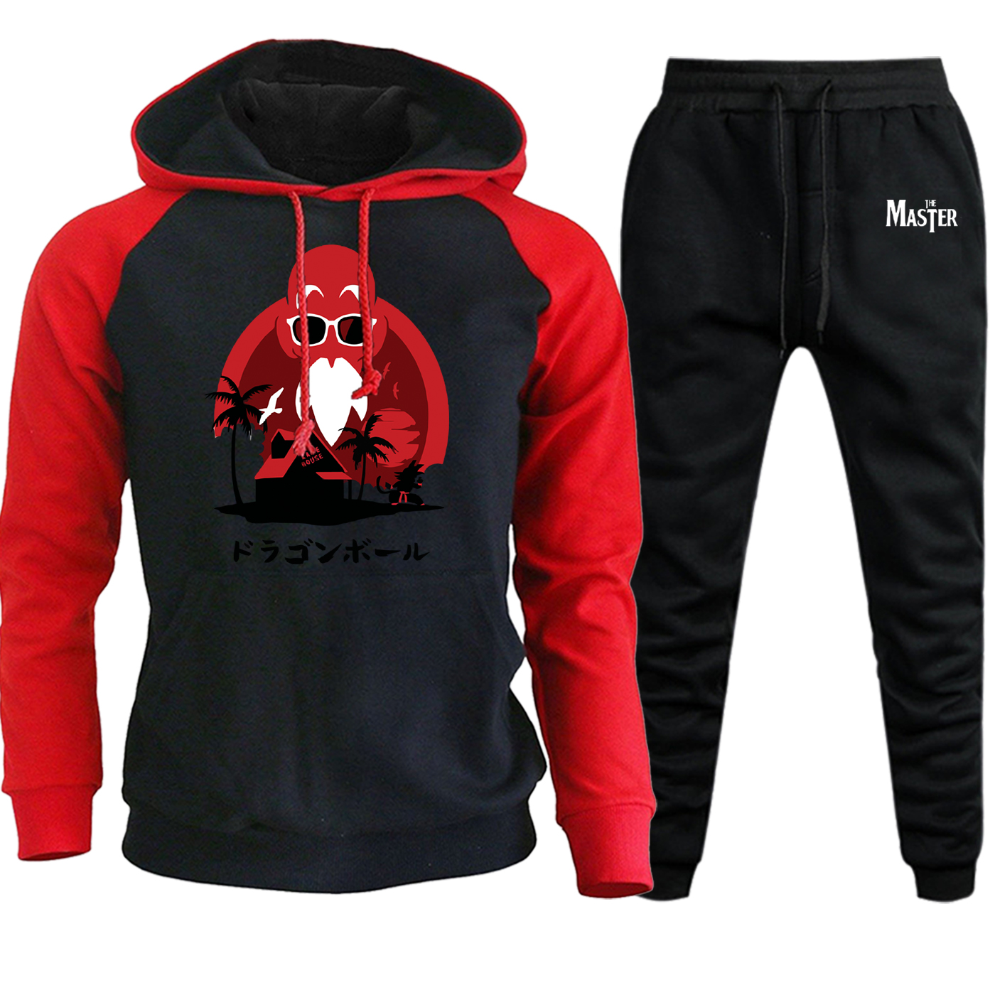 Master Roshi Dragon Ball Hooded Mens Raglan Streetwear Autumn 2019 Suit Male Casual Pullover Fleece Hoodie+Pants 2 Piece Set