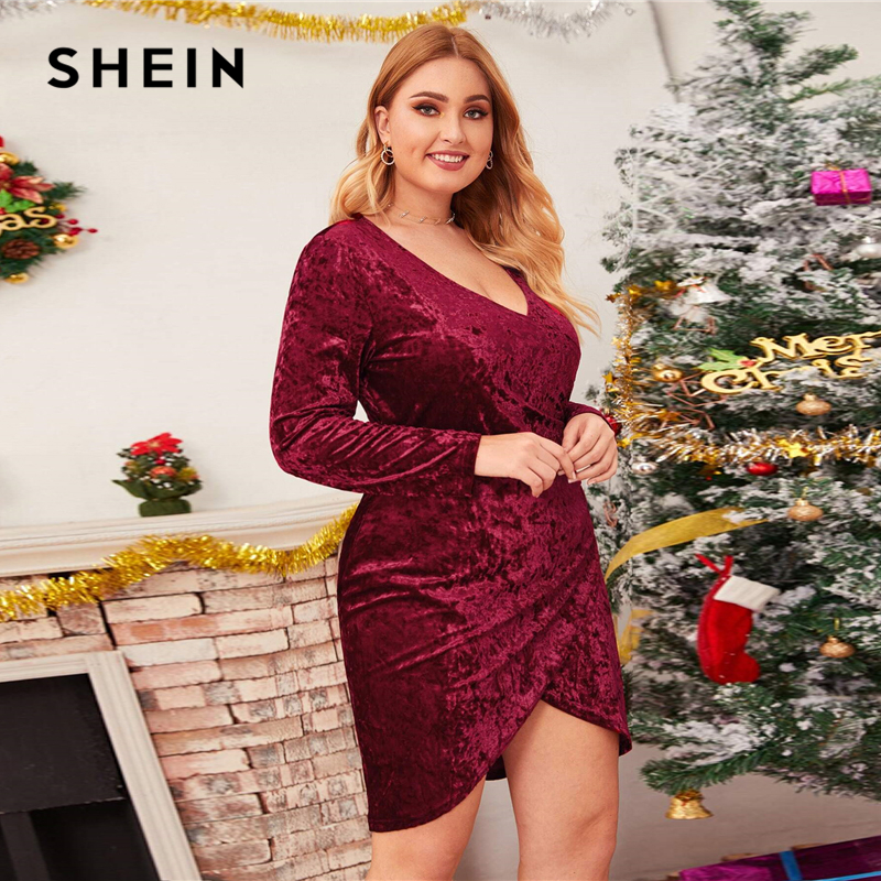 SHEIN Plus Size Burgundy Ruched Velvet Wrap Dress Women Winter Spring Long Sleeve V-neck Glamorous Party Bodycon Mini Dresses 1