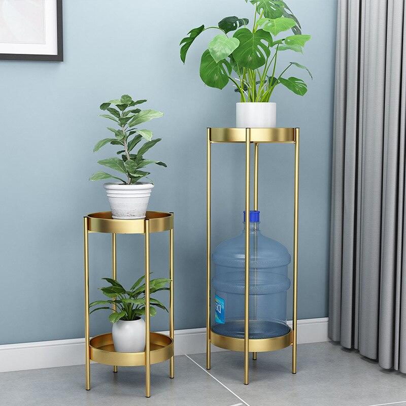 Soporte de planta de Metal nórdico, soporte de Metal de 2 neumáticos con flor dorada para oficina, casa, soporte de planta de hierro, soporte de Metal blanco para decoración de jardín, Estantes de Metal