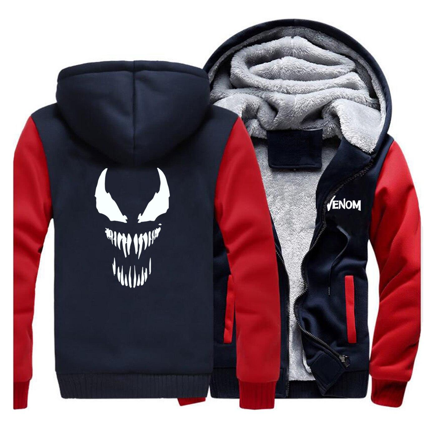 Venom Anime Print Coat Men's Fleece Warm Jacket 2019 Autumn Winter Fleece Funny Male Hoodies Sweatshirts Brand Men Streetwear