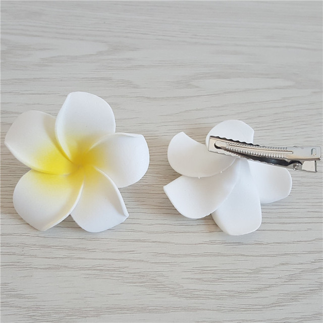 1pc Summer Style Sunny Bright Plumeria Flower Foam Hair Clips 5CM Barrettes Headwear Hair Accessories Kids Women