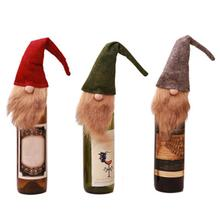 Christmas Decorations Faceless Old Man Doll Wine Bottle Set Bag Gift Dress Up Holiday Atmosphere