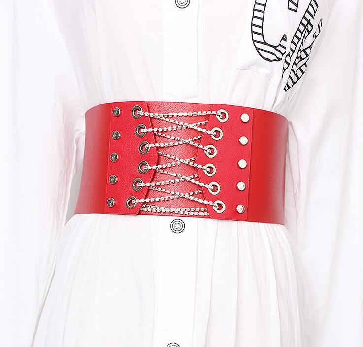 Women's Runway Fashion Diamonds Pu Leather Bandage Cummerbunds Female Dress Corsets Waistband Belts Decoration Wide Belt R1915