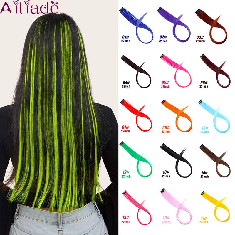 AILIADE Clip In One Pieces Hair Extensions Straight Ombre Fluorescent Green Extension Hair Women Synthetic False Fake Hair
