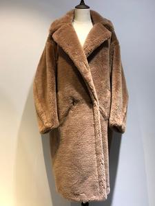 Coat Teddy Alpaca Winter Women's Bear-Fur Warm Red Classic Wool Loose Thicken
